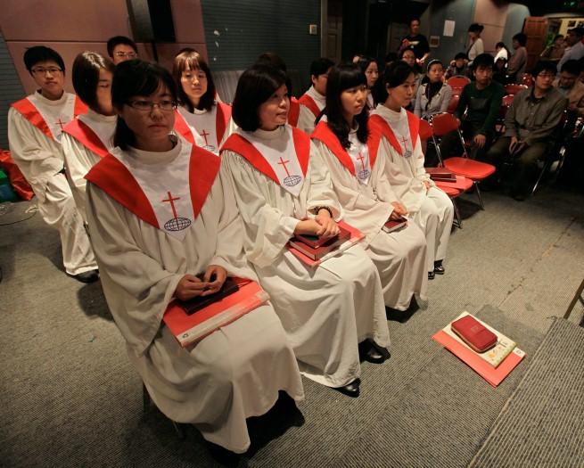 Chormitglieder einer protestantischen Hauskirche in Beijing