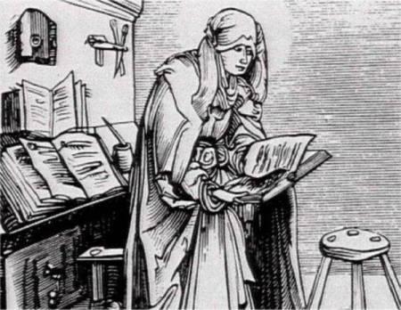 Nonne im Frauenkloster beim Lesen