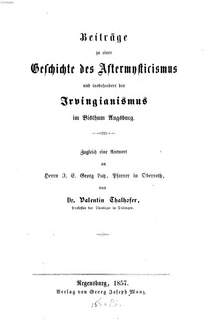 Beiträge zur Geschichte des Aftermysticismus
