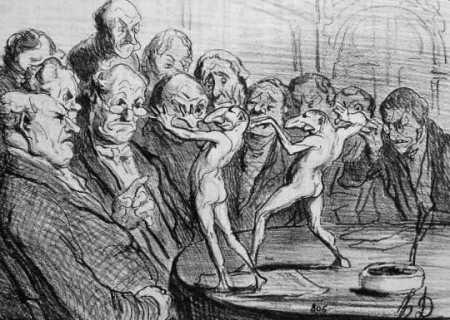 Honoré Daumier, Les Atzecs [sic] devant les savants (Detail) Ausschnitt