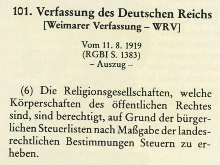 Kirchensteuer  WRV
