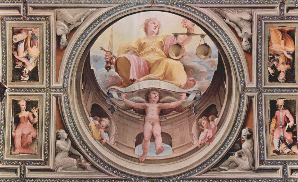 Domenico Beccafumi -  Justitia aus dem allegorischer Freskenzyklus der politische Tugenden aus dem Plazzo Pubblico in Siena