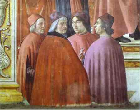 Marsilio Ficino, Cristoforo Landino, Angelo Poliziano und Gentile de' Becchi