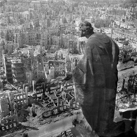 A-statue-on-the-Rathausturm-overlooks-a-destroyed-Dresden-Richard-Peters