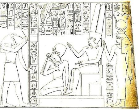 König Sethos I. wird von dem Gott Amon gekrönt und mit dem Lebenszeichen gesegnet