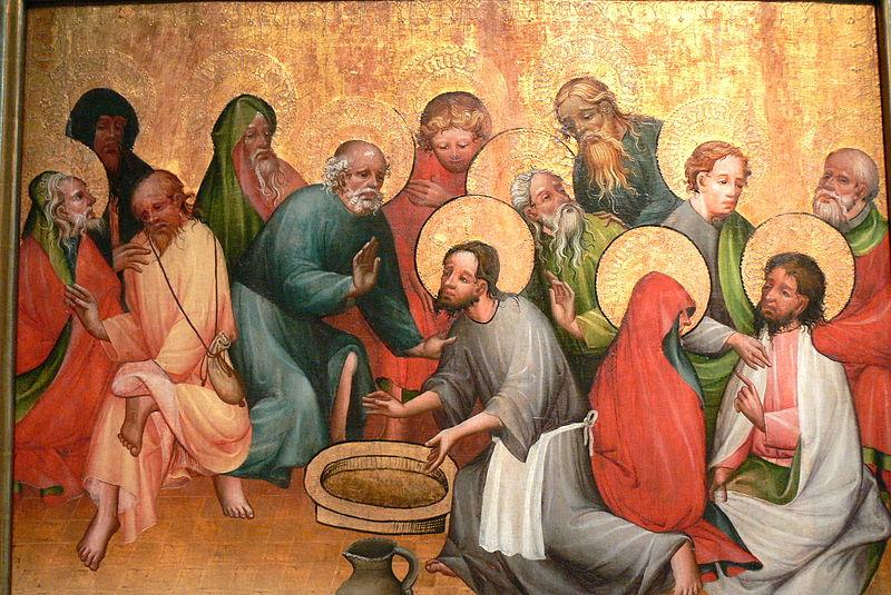 Jesus wäscht seinen Jüngern die Füße - Altargemälde ( 1400 / 1420 ) aus Mainz.