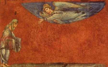 Abraham als der Empfangende (Wiener Genesis, 6. Jh.)