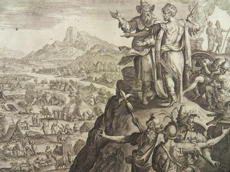 Balak und Bileam auf dem Berg Peor (Kupferstich nach Marten de Vos, Antwerpen Gerard de Jode, 1585)