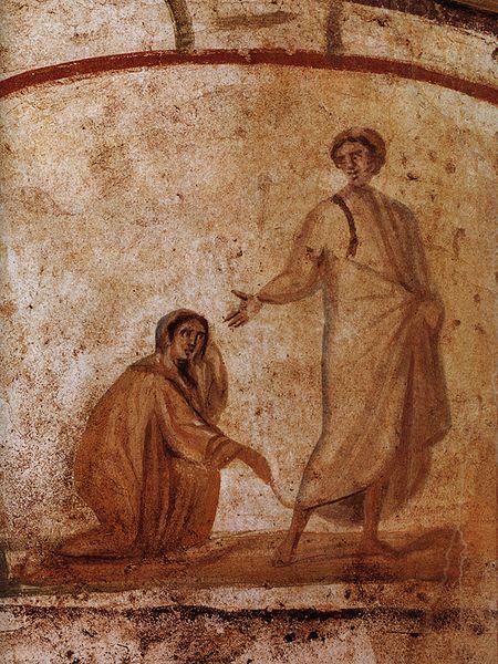 Jesus heilt eine blutflüssige Frau (Wandmalerei in der Marcellinus-Petrus-Katakombe, Rom)