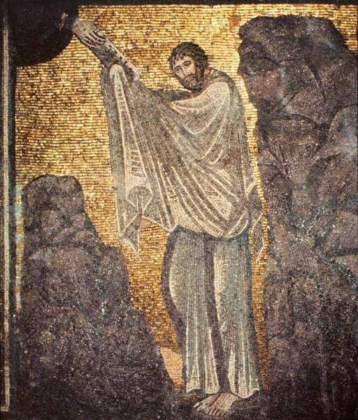 Gott gibt Mose am Gottesberg die Zehn Gebote (Mosaik in der Kirche des Katharinenklosters auf dem Sinai; 6. Jh.).