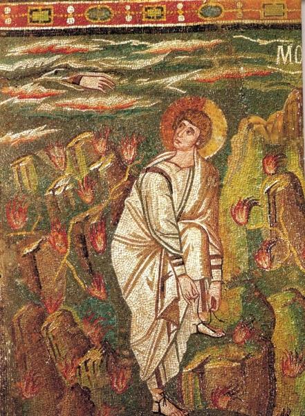 Mose vor dem brennenden Dornbusch (Mosaik in San Vitale in Ravenna; 6. Jh.)