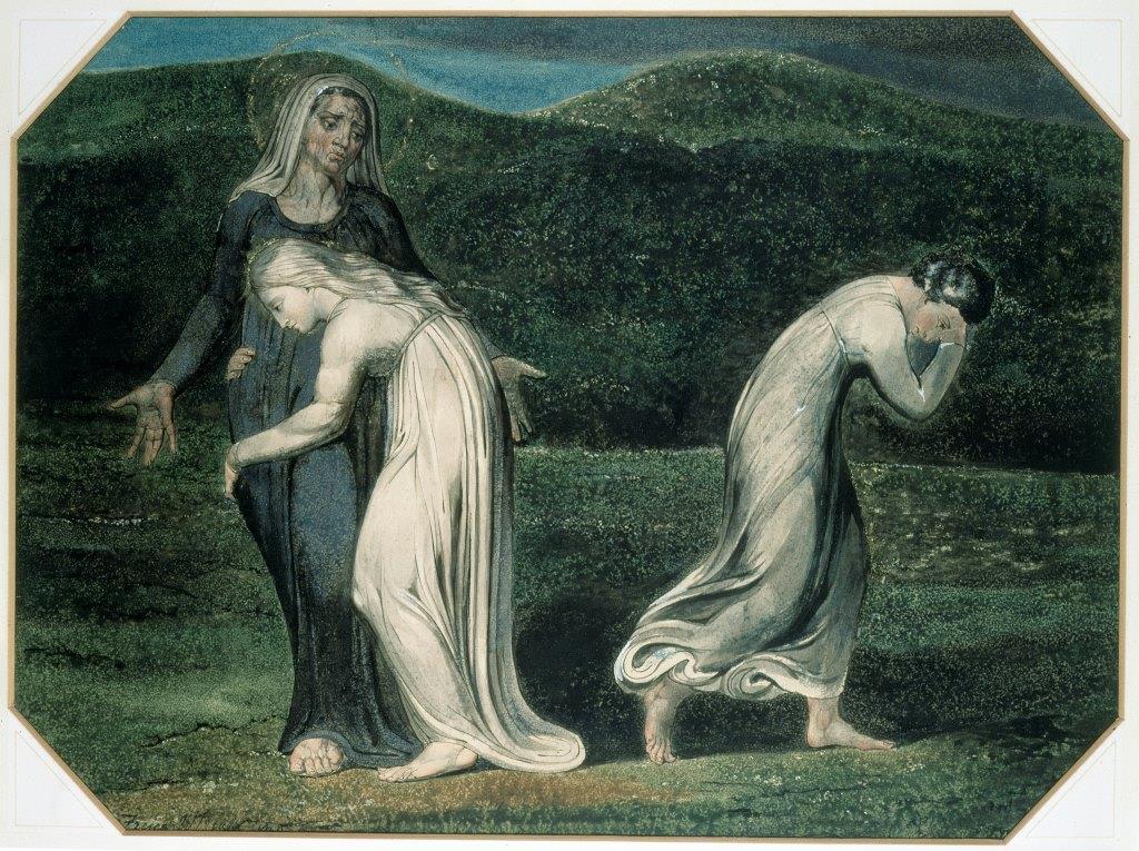 Naomi bedrängt Rut und Orpa in das Land der Moabiter zurückzukehren (William Blake, 1795)