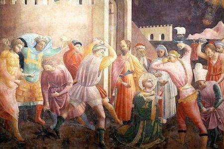 Die Steinigung von Stephanus. Fresko von Paolo Uccello. Ca. 1435.