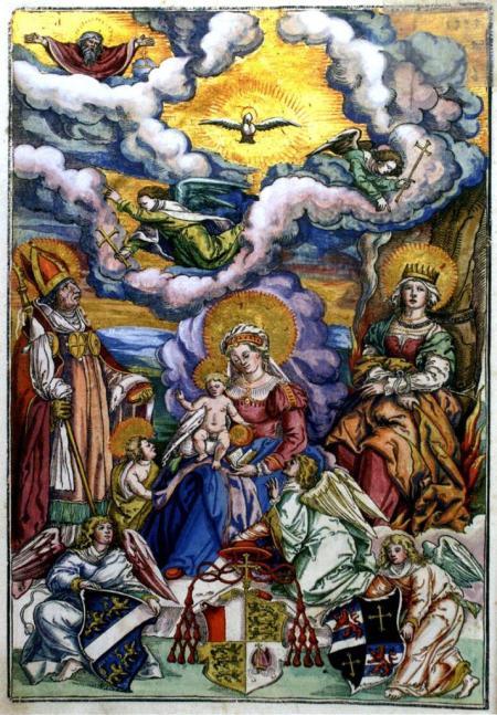 Maria mit dem Kind, flankiert von den hl. Ulrich und Afra, Holzschnitt von Matthias Gerung aus dem Missale des Augsburger Bischofs Otto von Waldburg, 1555; Fürstliche Kunstsammlungen Waldburg-Wolfegg