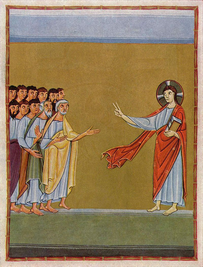 Jesus verabschiedet sich vom Kreise seiner Jünger mit dem Missionsbefehl (Mittelalterliche Buchmalerei vom Meister der Reichenauer Schule, um 1010)