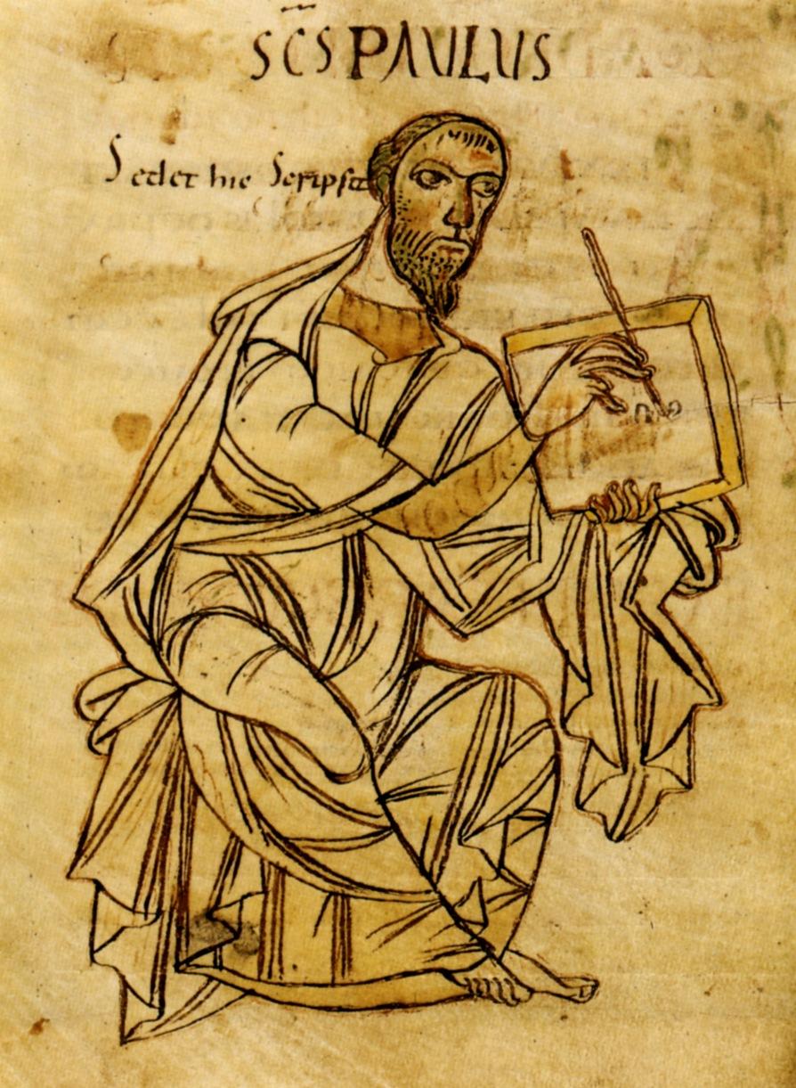 Der schreibende Paulus in einer frühmittelalterlichen Handschrift der Paulusbriefe (St. Gallen, 9. Jh.)