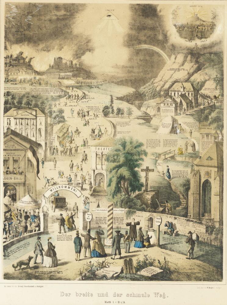 """""""Der breite und der schmale Weg"""", Stuttgarter Fassung, Farbversion von 1873"""