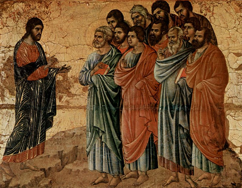 Duccio di Buoninsegna, Erscheinung Christi auf den Berg von Galilea ( Altarretabel des Sieneser Doms, 1308-11)