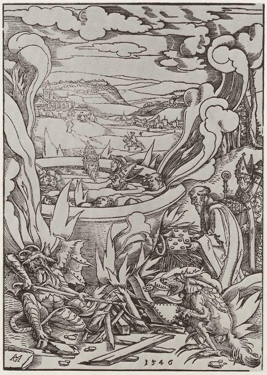 Matthias Gerung - Geistliche und weltliche Herrscher sieden im Kessel (zu Offenbarung 9)