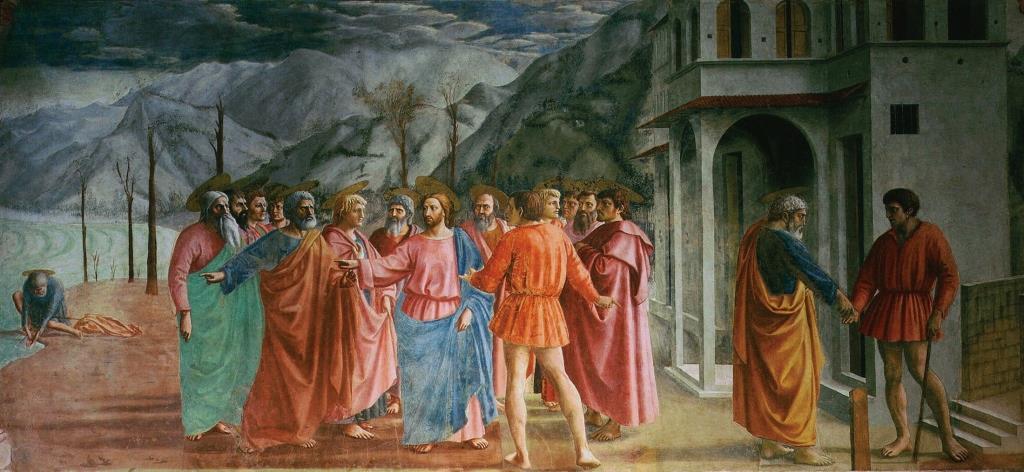 Masaccio - Der Zinsgroschen (Fresko, 1425- 1428 Santa Maria del Carmine)