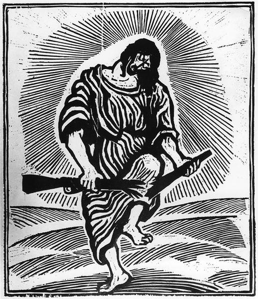 Otto Pankok  - Christus zerbricht das Gewehr (Holzschnitt 1950)