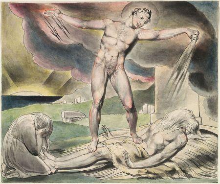 William Blake - Satan schüttet die Plagen über Hiob aus (Aquarell von 1821)