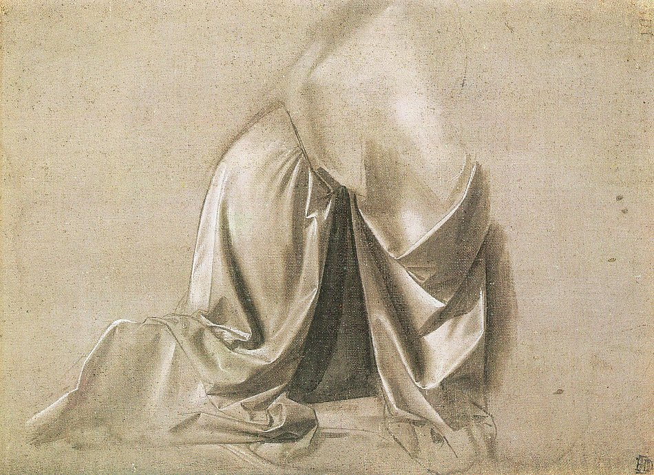 Leonardo da Vinci - Gewandstudie für eine knieende Figur