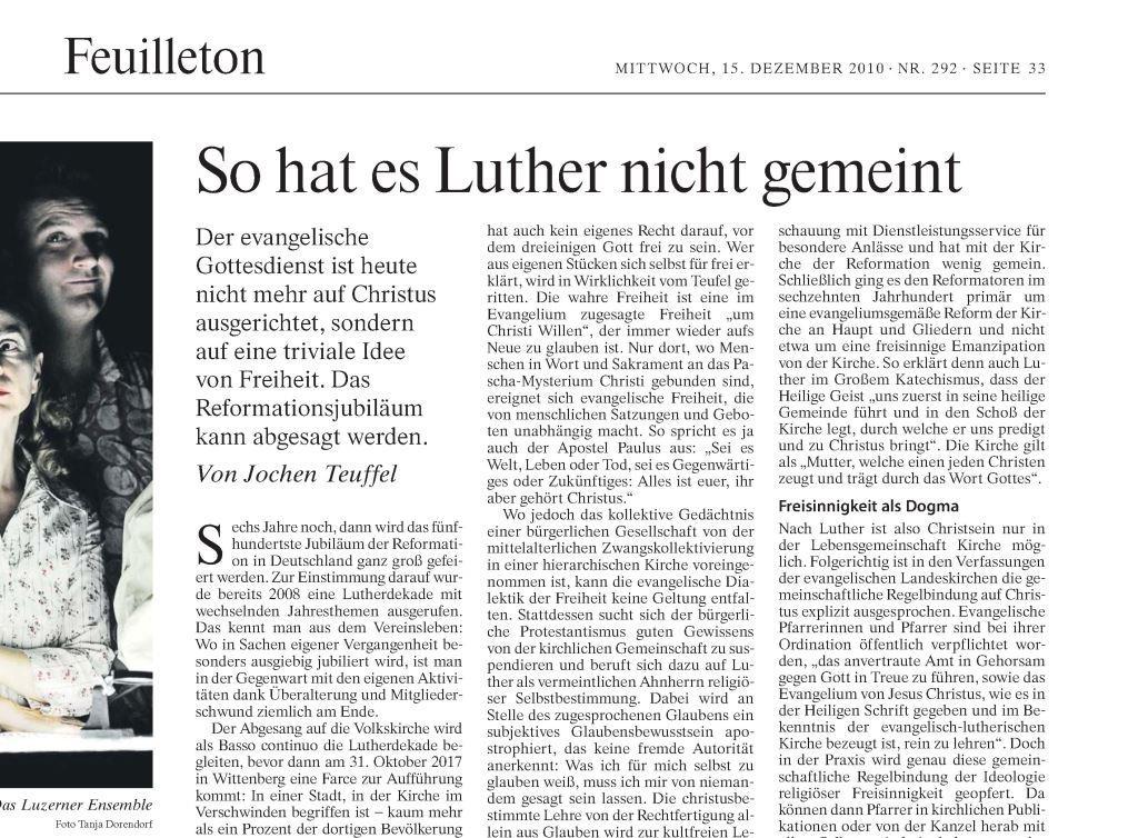 Teuffel - So hat es Luther nicht gemeint (FAZ)