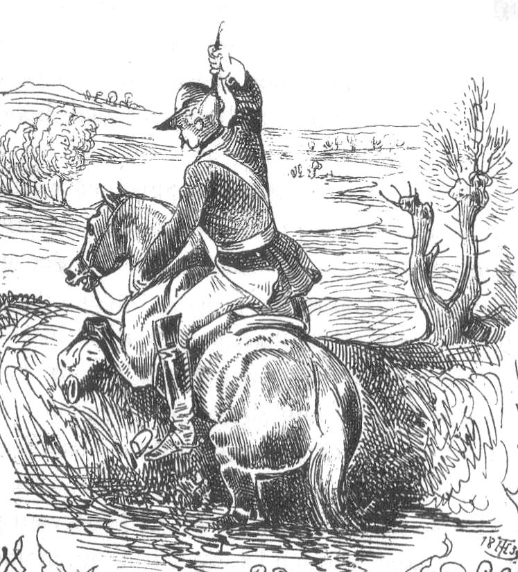 Münchhausen zieht sich aus dem Sumpf, Zeichnung von Theodor Hosemann
