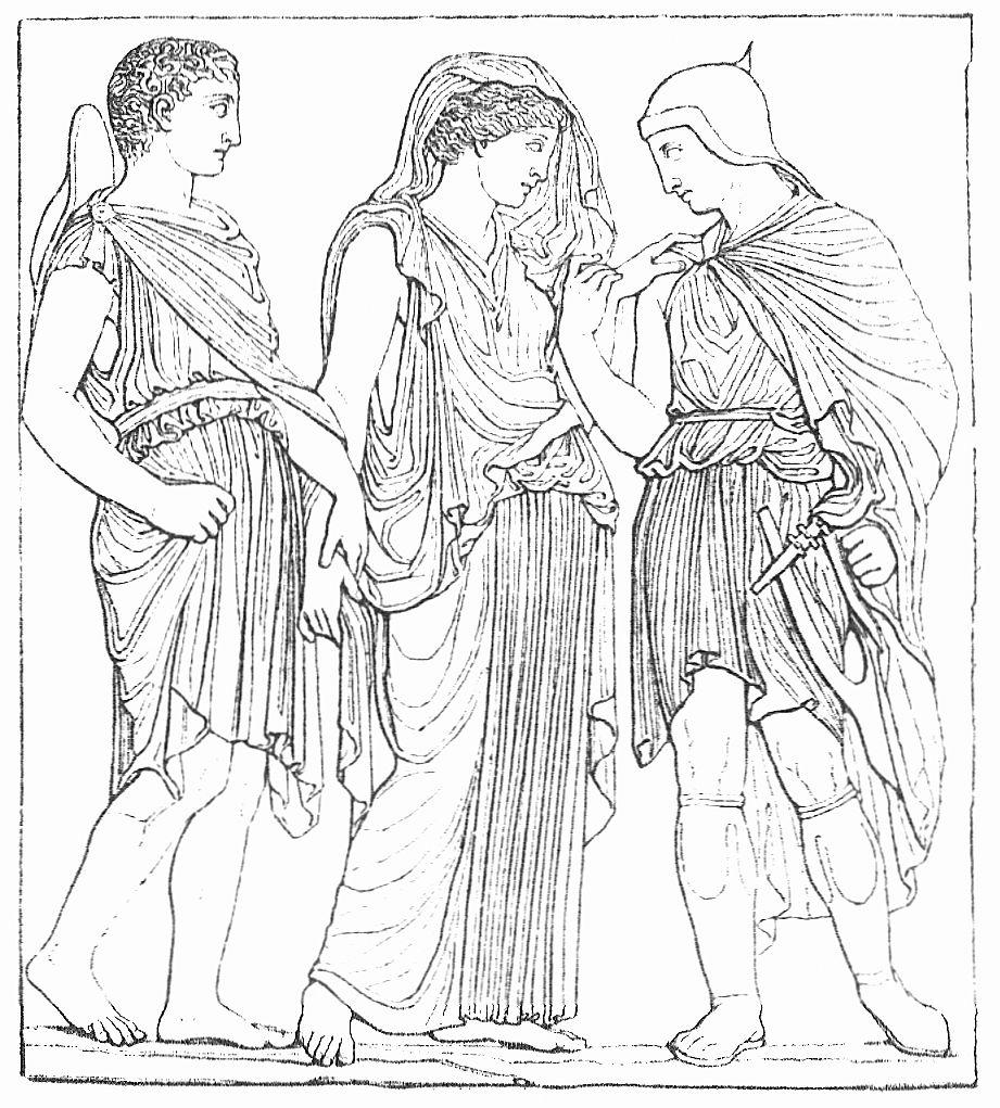 Hermes, Eurydike und Orpheus (Relief in der Villa Albani, Rom)