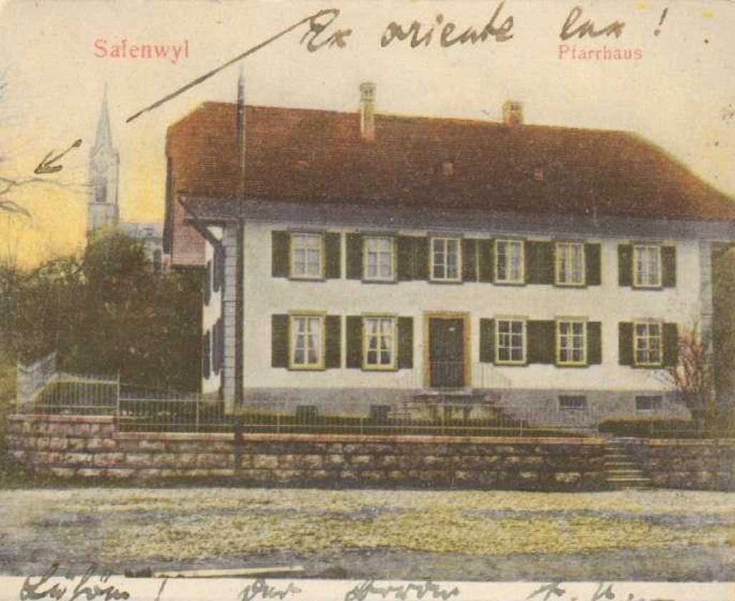 Postkarte mit Pfarrhaus Safenwil