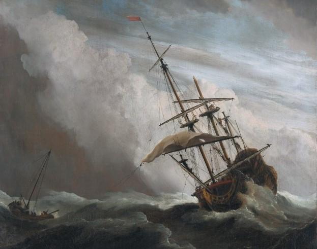 De_Windstoot_-_A_ship_in_need_in_a_raging_storm_(Willem_van_de_Velde_II,_1707)