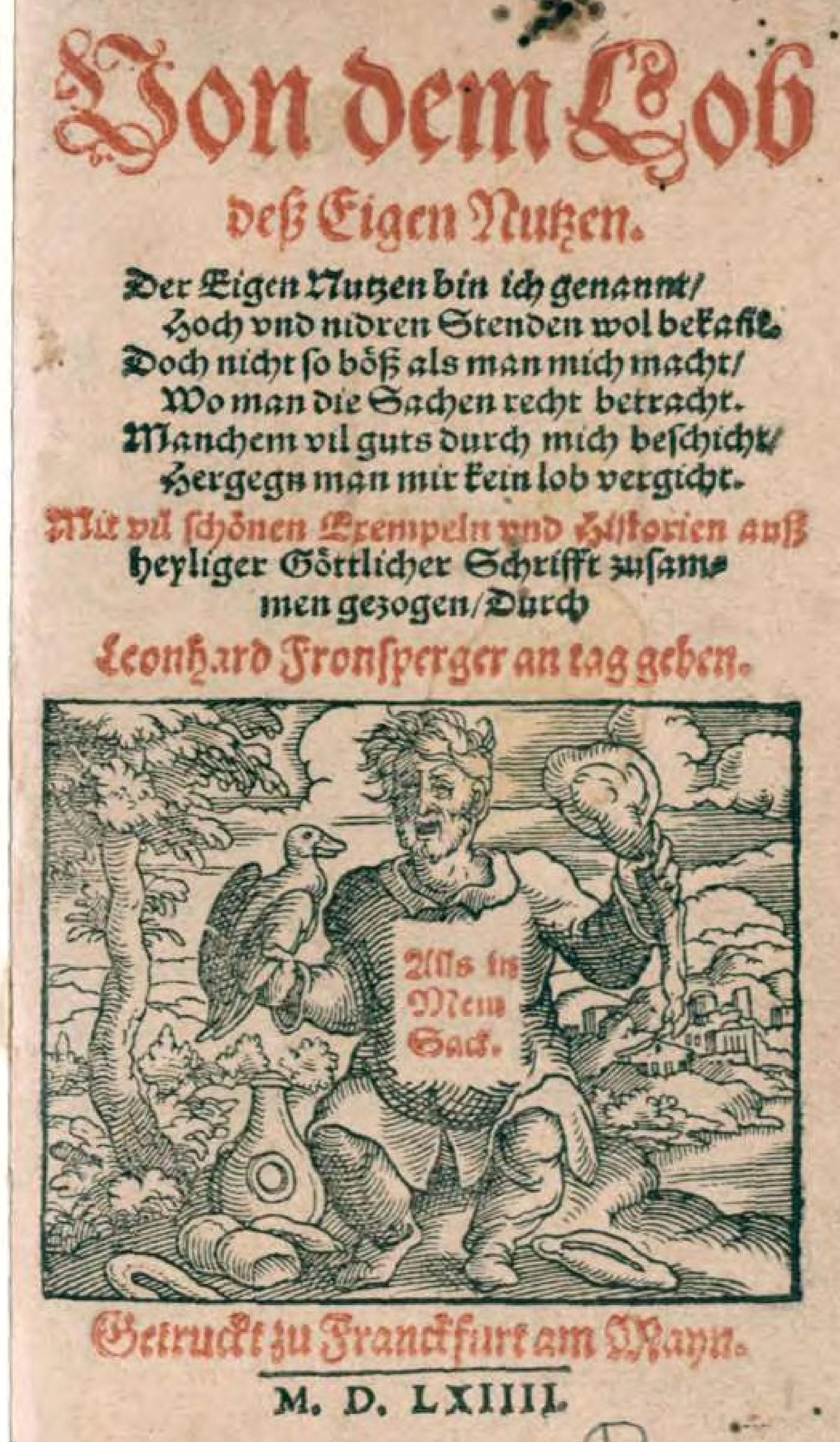 Fronsperger - Von dem Lob deß Eigen Nutzen (Titelblatt)