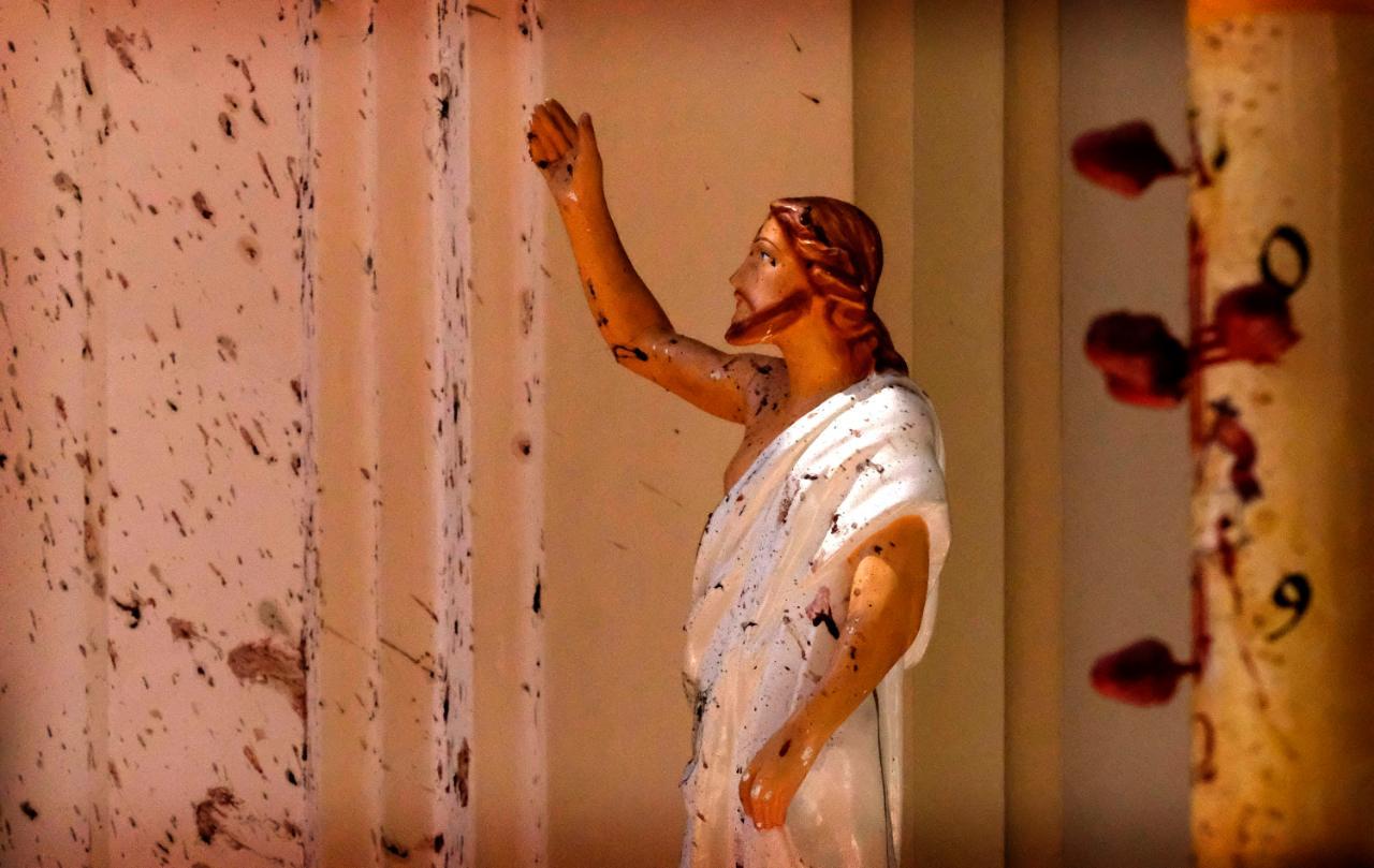 Christus-Statue in der Sankt-Sebastian-Kirche in in Negombo