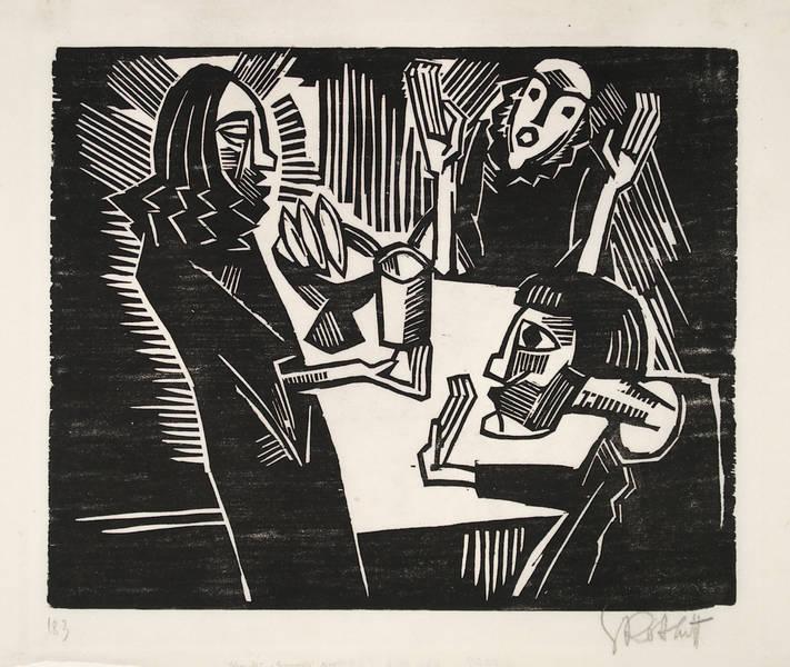 Karl Schmidt-Rottluff – Emmaus (Holzschnitt 1918)