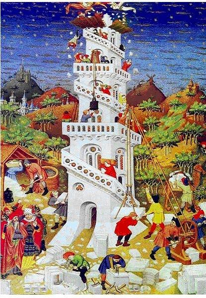 Der Turmbau zu Babel (Französischer Meister im Stundenbuch des Herzogs von Bedford 1423)