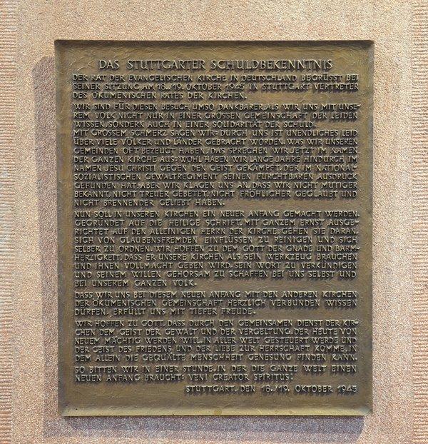 Gedenktafel Stuttgarter Schuldbekenntnis P. Oellers