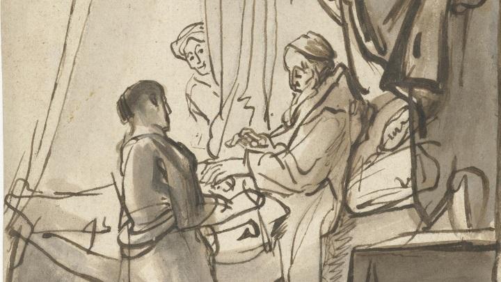 Isaak segnet Jakob (Zeichnung nach Carel Fabritius, 1640)