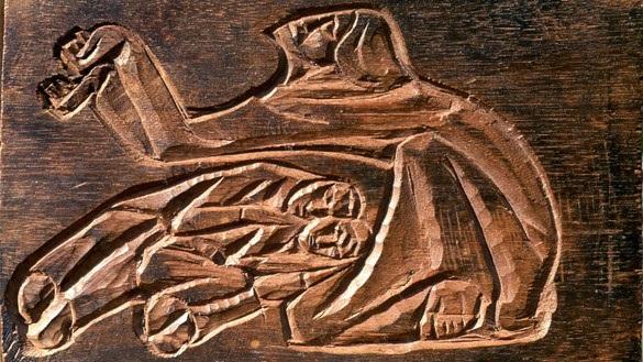 Wilhelm Groß - Christus in Gethsemane (Holzschnitt)