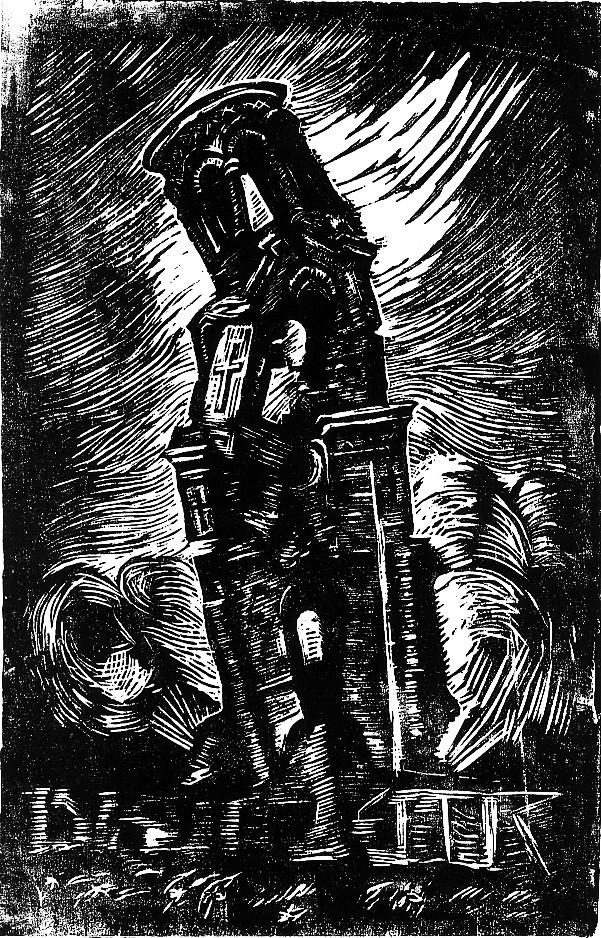 Wilhelm Groß - Stürzende Kirche. Das Kreuz bleibt unversehrt