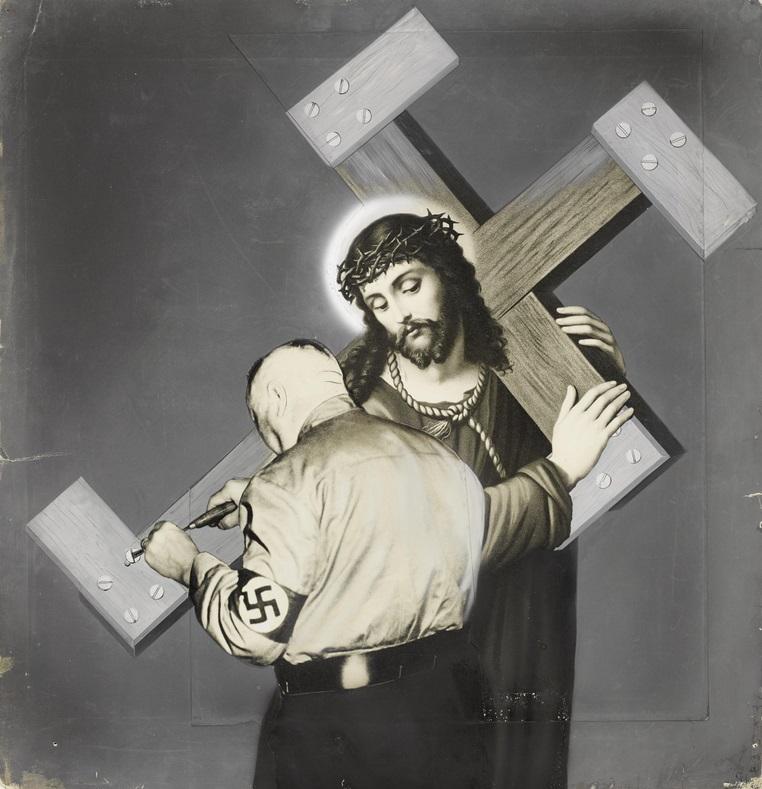 Heartfield - Zur Gründung der deutschen Staatskirche - Das Kreuz war noch nicht schwer genug (AIZ, Jg. XII, Nr. 23 vom 15.6.1933)