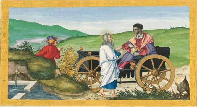 Philippus und der Kämmerer aus Äthopien (Ottheinrich-Bibel)
