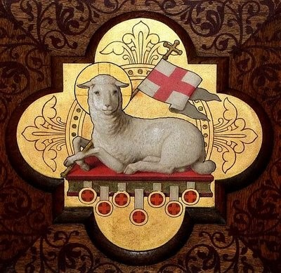 Lamm auf dem Buch mit den sieben Siegeln