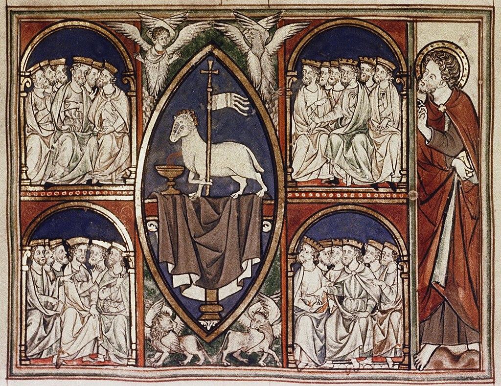 1024px-Douce_Apocalypse_-_Bodleian_Ms180_-_p.012_Lamb_enthroned