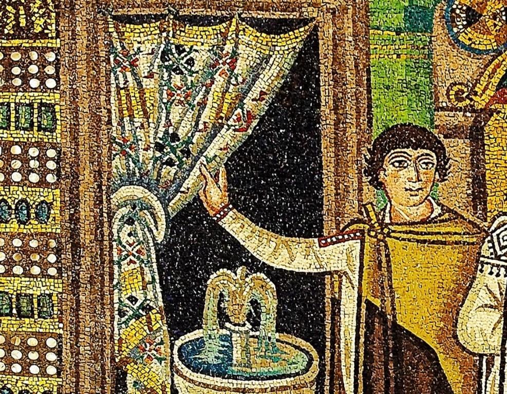 Ostiarier Mosaic_of_Theodora_-_Basilica_San_Vitale_(Ravenna,_Italy) - Kopie (Mittel)
